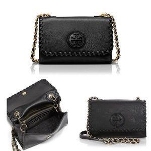 Tory Burch Black Marion Shrunken Leather Bag